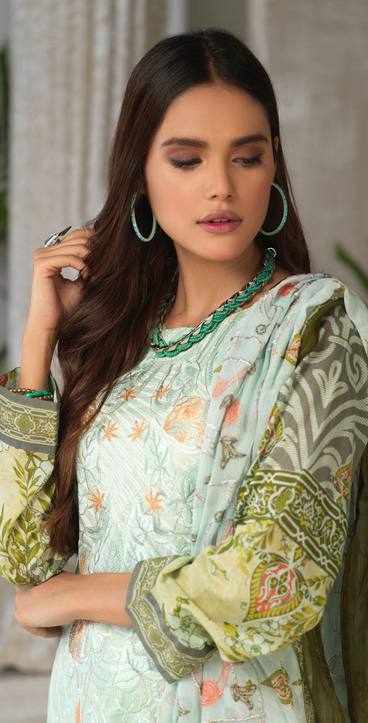 Unstitched 3pc Printed Embroidered Lawn Shirt with Printed Embroidered Chiffon  Dupatta - Fasutina (WK-00529A)
