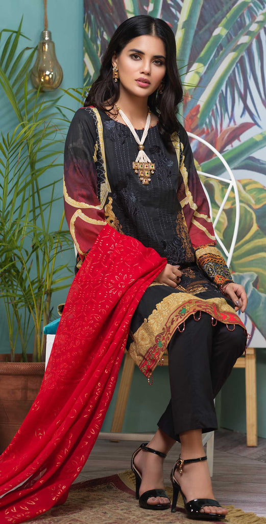 Stitched 3pc Digital Printed Lawn Shirt with Embroidered Front  & Brasso  Dupatta - Rococo  (WK-327)