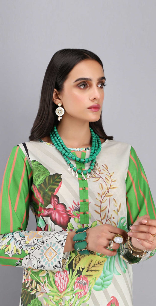 Unstitched 1pc Digital Printed Lawn Shirt - UK-05