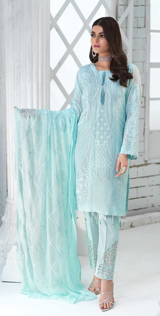 Unstitched 3pc Luxury Embroidered Swiss Shirt with Embroidered Chiffon Dupatta and Trouser Bunches - Swiss(WK-351)