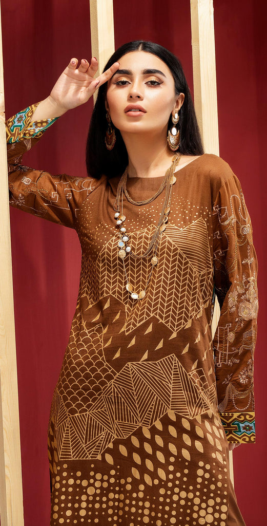 Unstitched 3pc Printed Embroidered Lawn Shirt with Printed  Chiffon  Dupatta - Zure  (WK-00525B)
