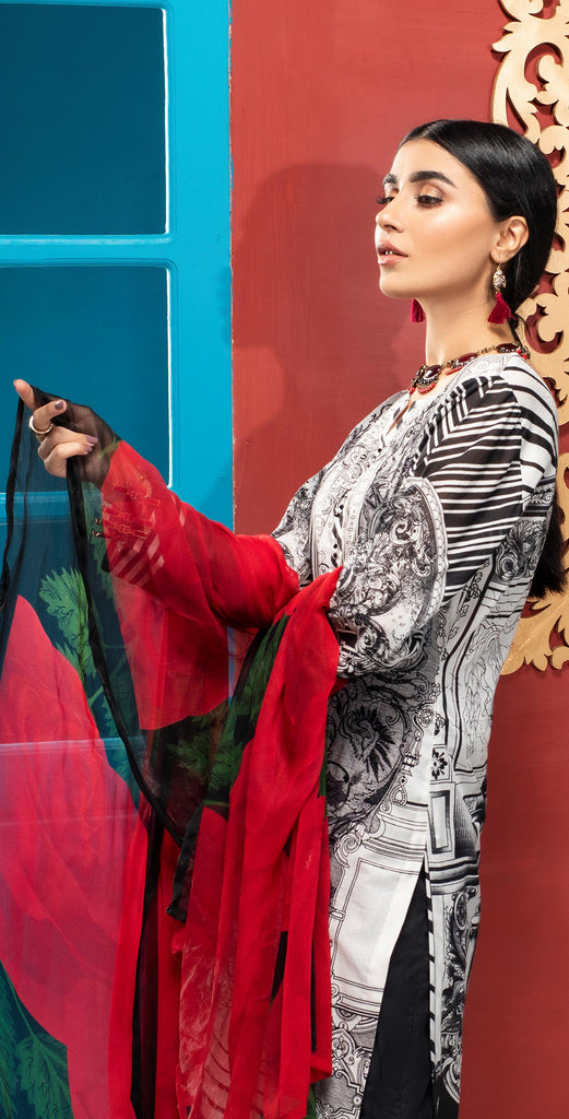 Stitched 3pc Printed Embroidered Lawn Shirt with Printed  Chiffon  Dupatta - Zure  (WK-00523B)