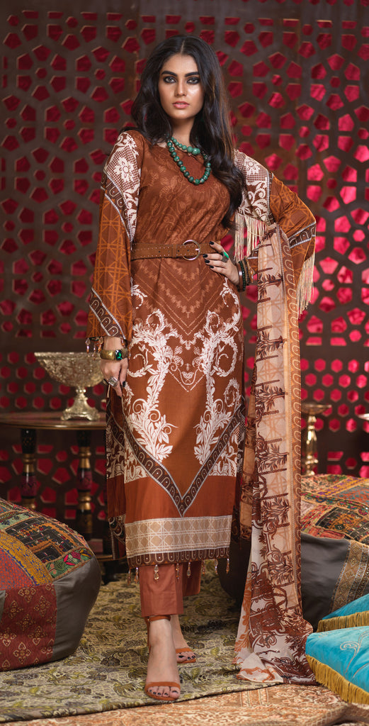 Unstitched 3pc Printed Lawn Shirt with Printed Chiffon  Dupatta - Orchid (RC-165A)
