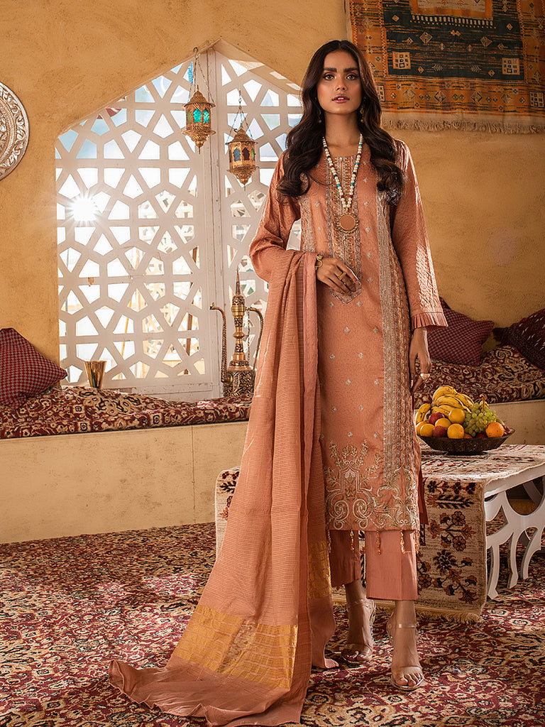 3pc Jacquard Embroidered Shirt With Khaddi Dupatta and cambric Trouser- (WK-00641)