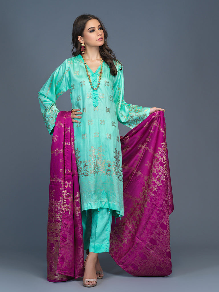 Unstitched 3pc Viscose Jacquard  Shirt and  Dupatta with vicose trouser-  Viscose Jacquard (Rc-00199)