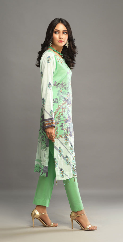 Unstitched 3pc Printed Embroidered Lawn Shirt with Organza Zari Lines Dupatta - Shades (WK-00542A)