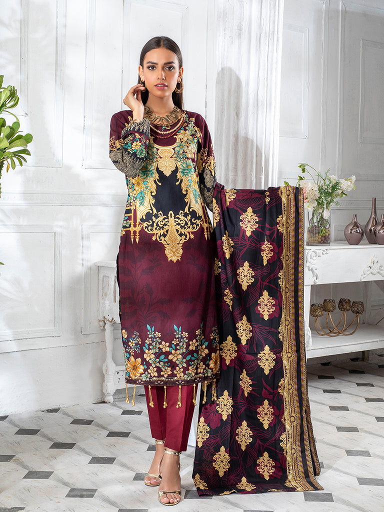 3pc Printed Cambric Shirt with Printed Lawn Dupatta & Cambric Trouser- Inaya (IP-00051A)