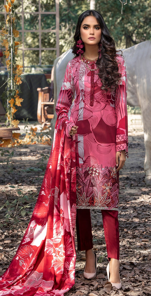 Stitched 3pc Printed Linen Embroidered Shirt with Printed Linen Dupatta (WK-381A)
