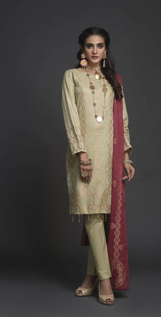 Un-sticthed 3pc Jacquard  Shirt with Jacquard  Dupatta (WK-406B)