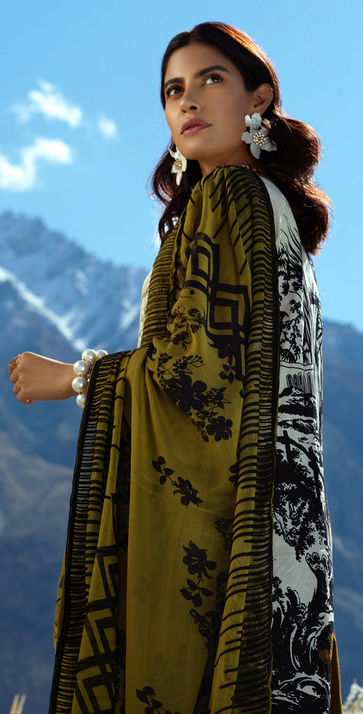 Sticthed 3pc Printed Embroidered Cambric  Shirt with Printed & Embroidered Chiffon Dupatta (WK-398B)