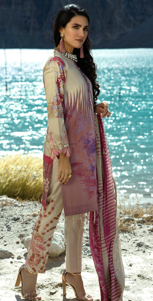 Stitched 3pc Printed Embroidered Cambric  Shirt with Printed & Embroidered Chiffon Dupatta (WK-396A)
