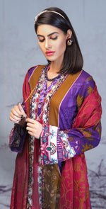 Printed Lawn Shirt with Embroidered Front & Lawn Jacquard Dupatta | Festive Poshmal 3pc (WK-309B)