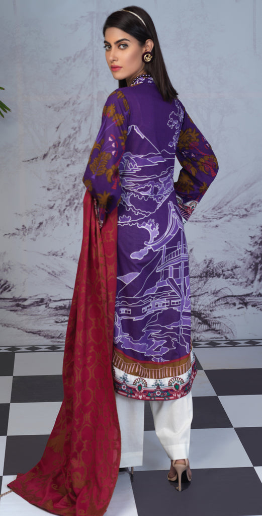 Stitched Printed Lawn Shirt with Embroidered Front & Lawn Jacquard Dupatta I Festive Poshmal 3pc (WK-309B)