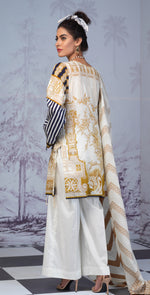 Printed Lawn Shirt with Embroidered Front & Lawn Jacquard Dupatta | Festive Poshmal 3pc (WK-308B)