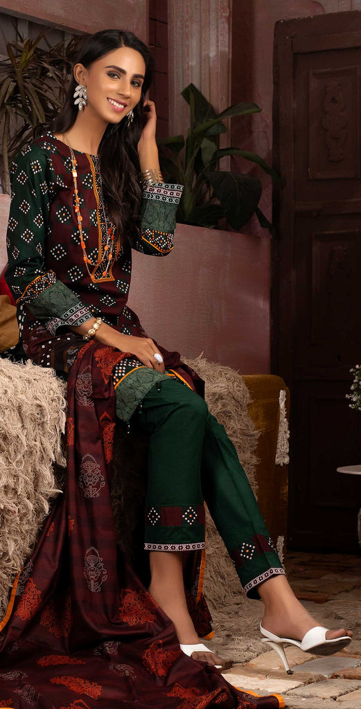 Unstitched 3pc Printed Lawn Shirt with Printed Lawn Dupatta - INAYA (IP-03A)