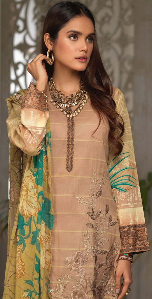 Unstitched 3pc Printed Embroidered Lawn Shirt with Printed Embroidered Chiffon  Dupatta - Fasutina WK-00531A)