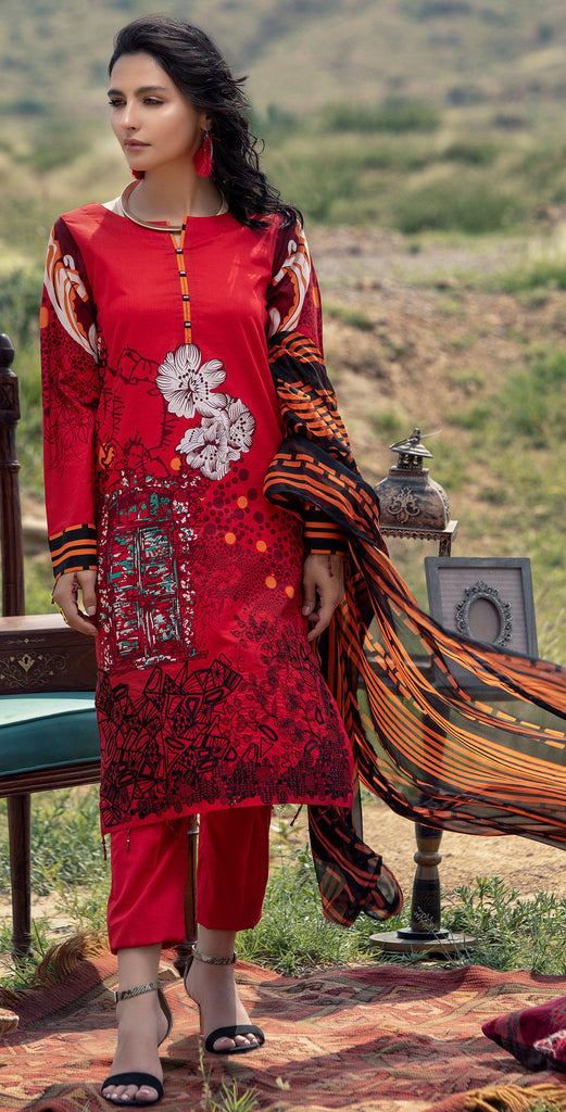 Stitched 3pc Printed Embroidered Cambric  Shirt with Printed Chiffon Dupatta (RC-175A)