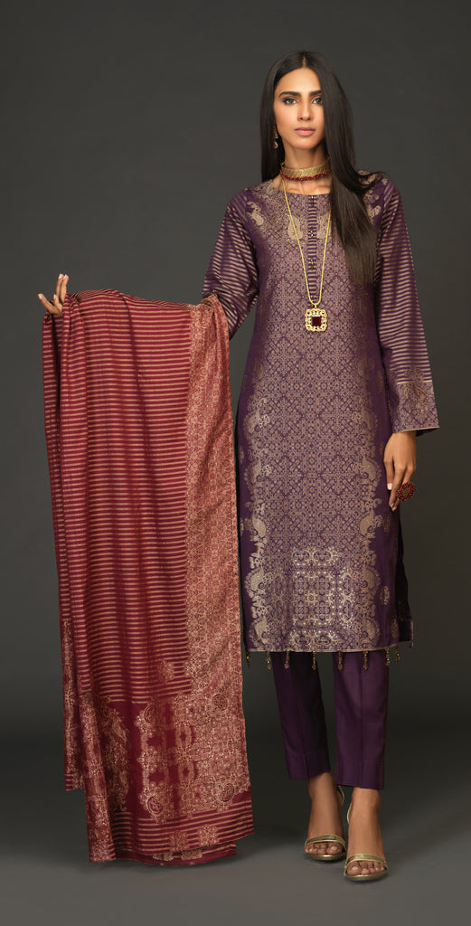 Unstitched 3pc Jacquard Shirt with four side Jacquard  Dupatta -JacquardClassic (WK-519A)