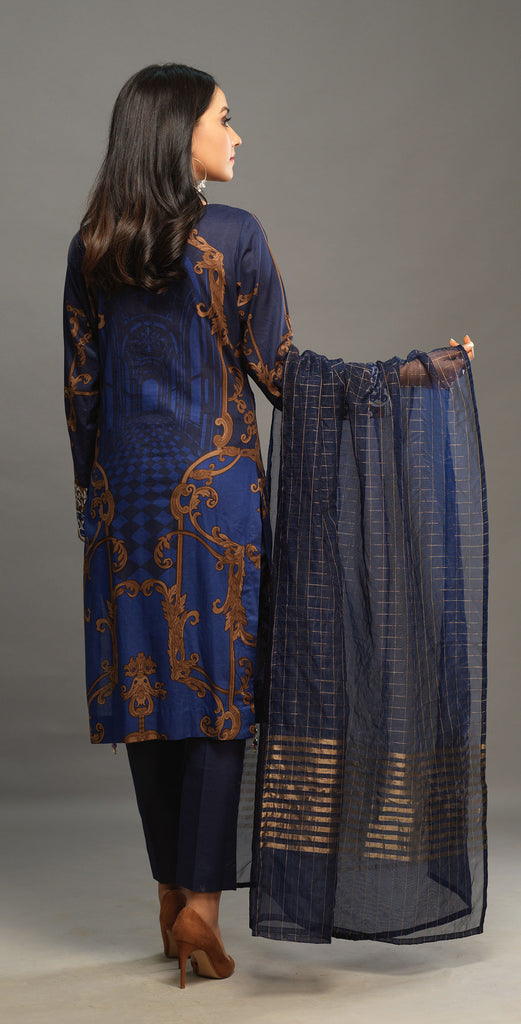 Navy Blue Unstitched 3pc Printed Embroidered Lawn Shirt with Organza Lines Dupatta - Shades (WK-00544A)