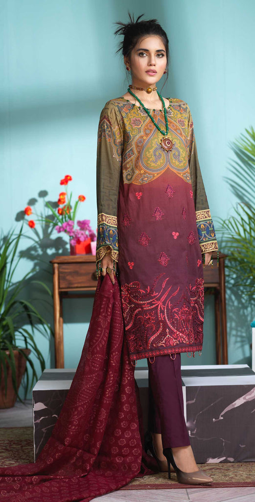 Unstitched 3pc Digital Printed Lawn Shirt with Embroidered Front  & Braso  Dupatta- Rococo (WK-318)