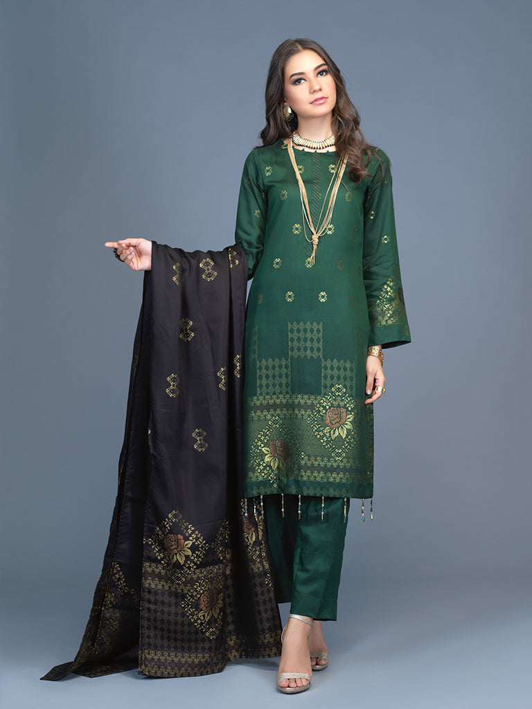 Unstitched 3pc Viscose Jacquard  Shirt and  Dupatta with vicose trouser-  Viscose Jacquard (Rc-00191)