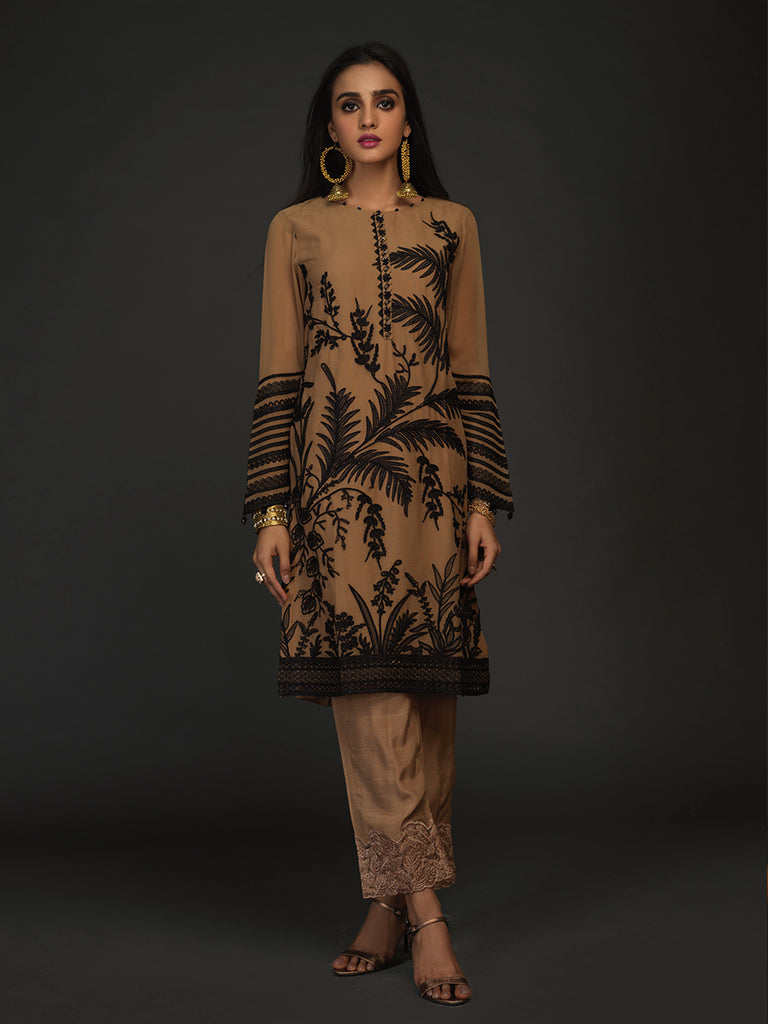 Hazelwood-Stitched 2pc Embroidered  Chiffon Stitched Shirt With Dyed Raw Silk Stitched  Trouser- (PR-00023)