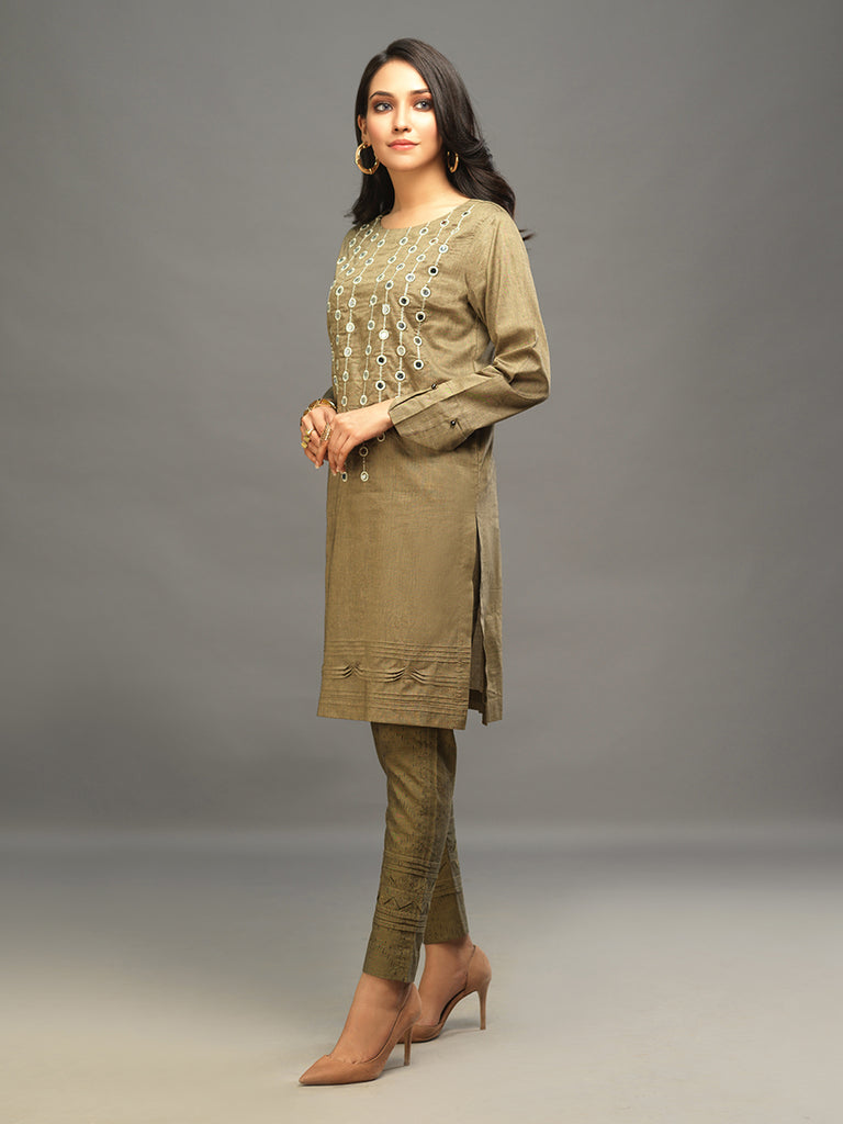 Sticthed 1pc Two Toned Kurti   - Casual Pret (CP-00020)