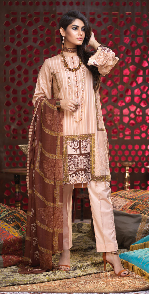 Stitched 3pc Printed Lawn Shirt with Printed Chiffon  Dupatta - Orchid (RC-169A)