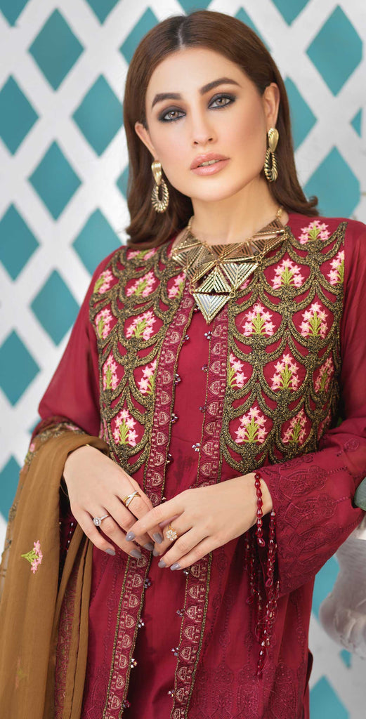 Unstitched 3pc Luxury Embroidered Swiss Shirt with Embroidered Chiffon Dupatta and Trouser Bunches - Swiss(WK-347)