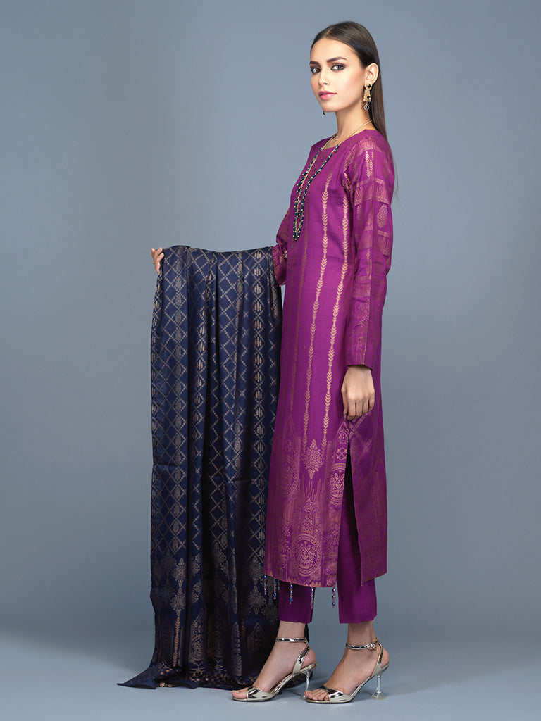 Unstitched 3pc Cambric Jacquard  Shirt with Cambric Jacquard  Dupatta - Jacquard classic (WK-00602)