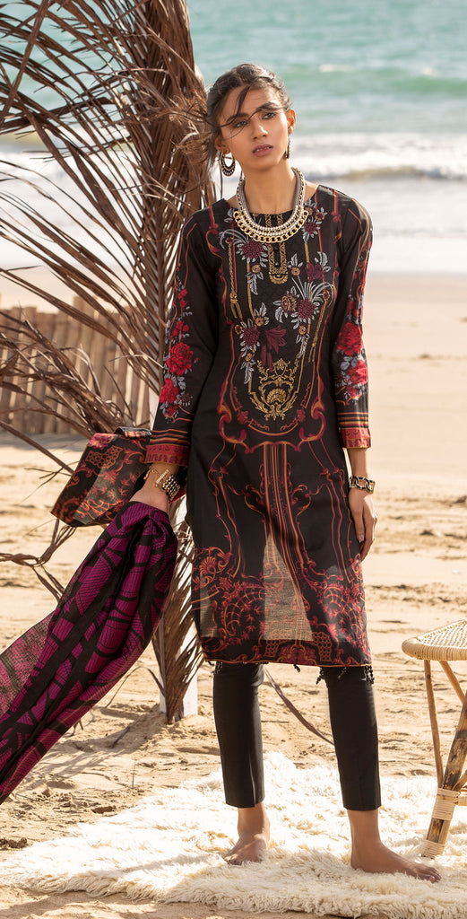 Stitched 3pc Printed Embroidered Lawn Shirt with Fancy Printed Check Dupatta (WK-496A)