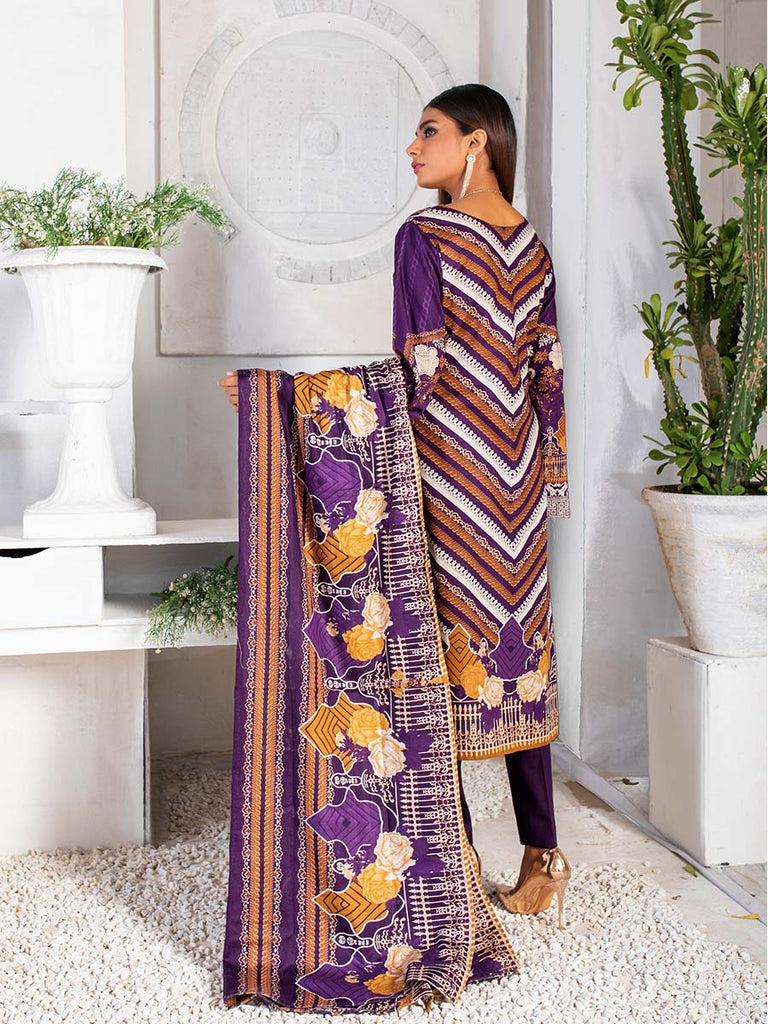 3pc Printed Cambric Shirt with Printed Lawn Dupatta & Cambric Trouser- Inaya (IP-00045B)
