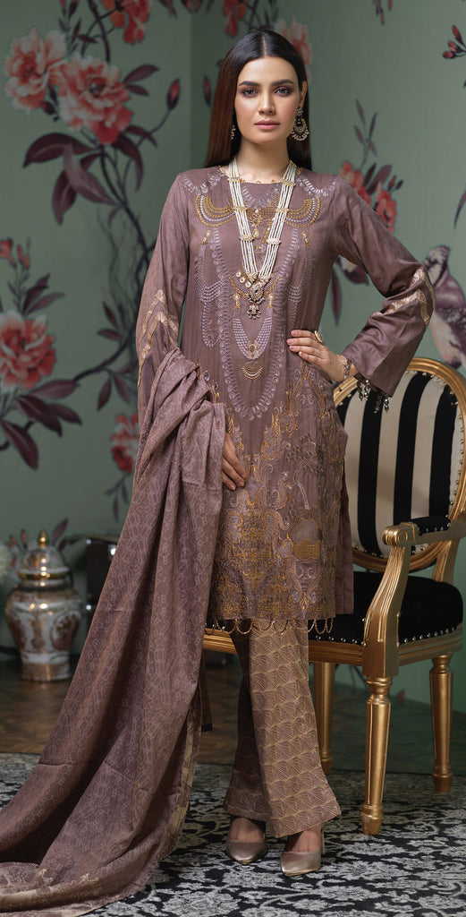 Stitched 3pc  Jacquard heavy embroidered shirt  , Lawn jacquard dupatta & camric jacquard trouser (WK337)