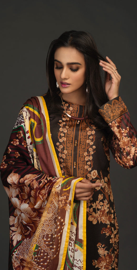 Stitched 3pc Lawn Maysuri Shirt with Maysuri Dupatta - InayaGold (IP-14)