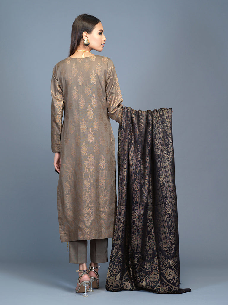 Unstitched 3pc Cambric Jacquard  Shirt with Cambric Jacquard  Dupatta - Jacquard classic (WK-00595)