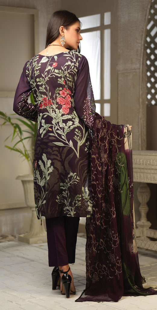 Unstitched 3pc Printed Embroidered Lawn Shirt with Printed Embroidered Chiffon  Dupatta - Fasutina WK-00534A)