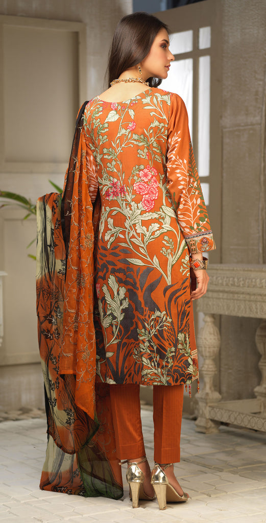 STITCHED 3pc Printed Embroidered Lawn Shirt with Printed Embroidered Chiffon  Dupatta - Fasutina (WK-00534B)