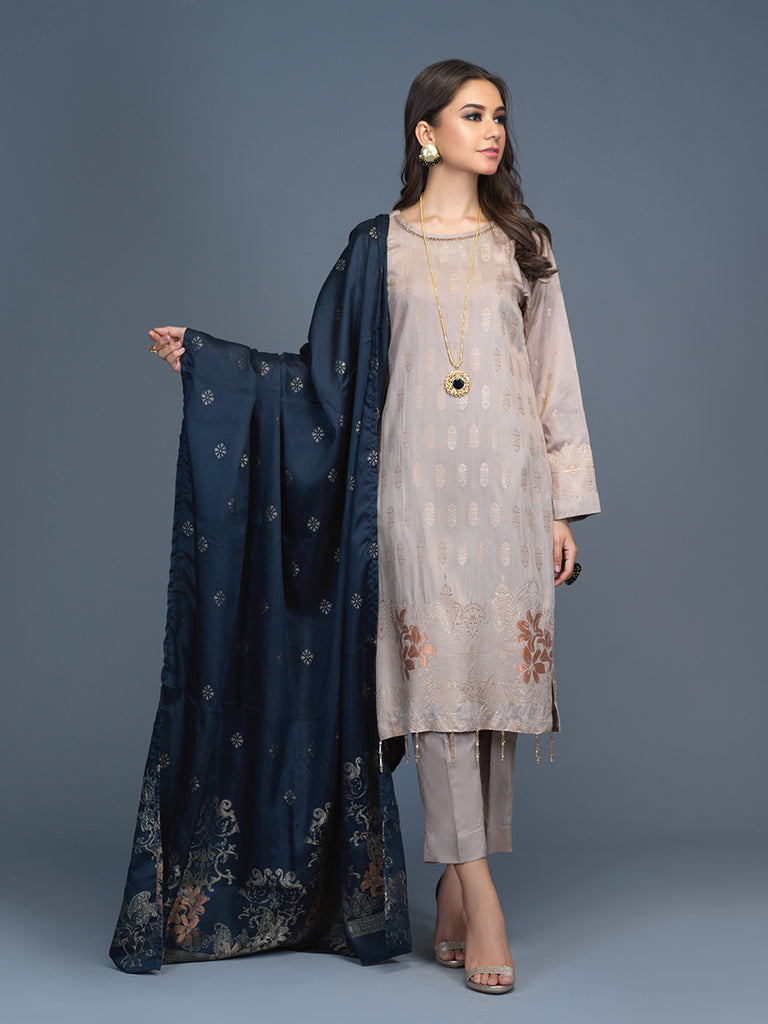 Unstitched 3pc Viscose Jacquard  Shirt and  Dupatta with vicose trouser-  Viscose Jacquard (Rc-00196)