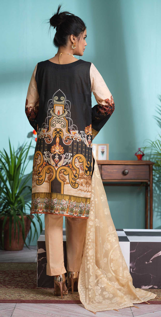 Stitched 3pc Digital Printed Lawn Shirt with Embroidered Front  & Brasso  Dupatta - Rococo  (WK-325)