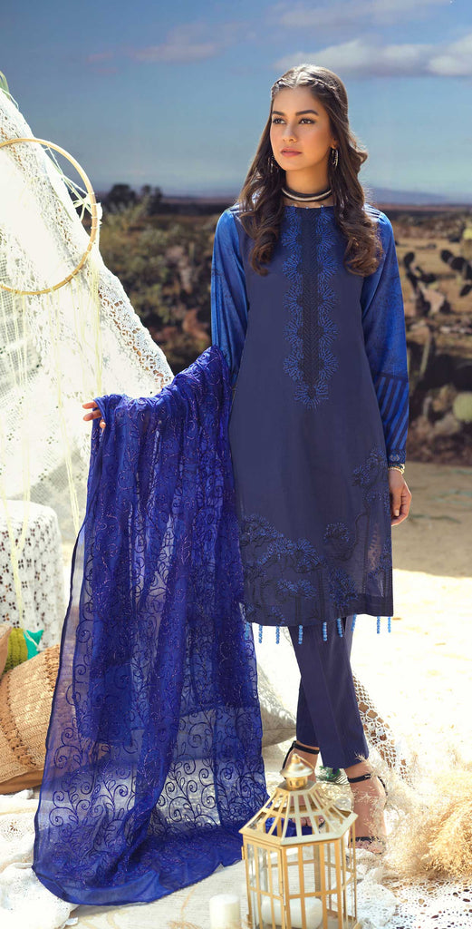 Unstitched 3pc Printed Lawn Embroidered Shirt with Printed  Embroidered Chiffon Dupatta - FAUSTINA (WK-499B)