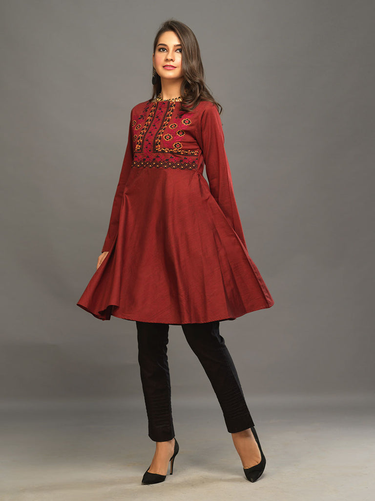 Sticthed 1pc Two Toned Kurti   - Casual Pret (CP-00022)