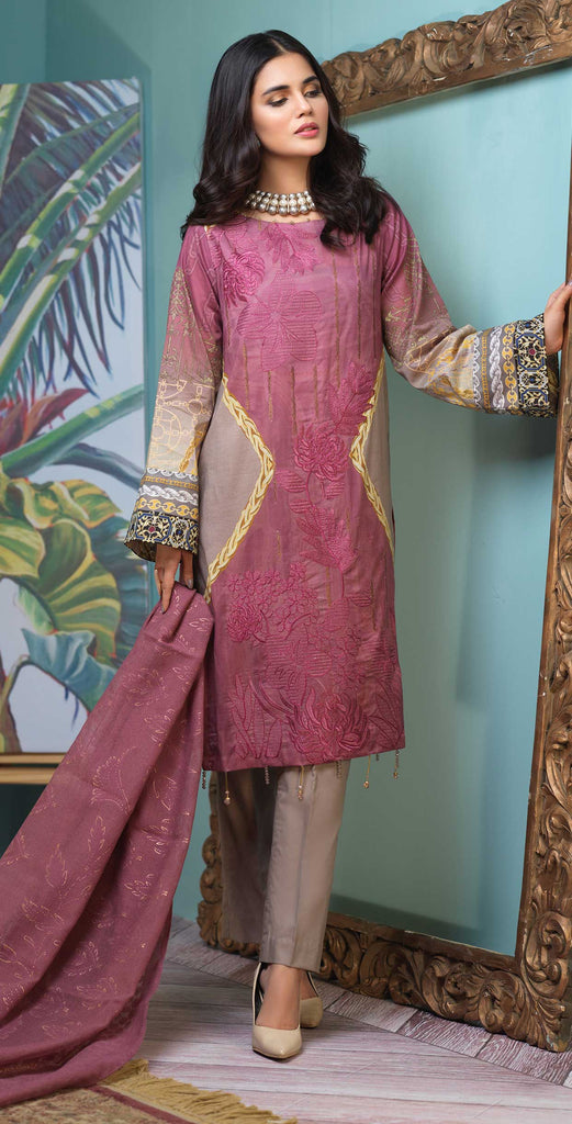 Unstitched 3pc Digital Printed Lawn Shirt with Embroidered Front  & Braso  Dupatta - Rococo (WK-329)