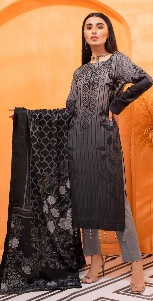 Unstitched 3pc Printed Lawn Shirt with Printed Lawn Dupatta - INAYA2 (IP-18B)