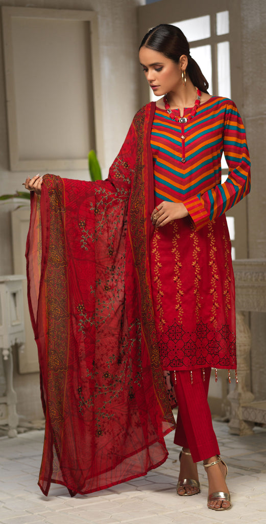 Unstitched 3pc Printed Embroidered Lawn Shirt with Printed Embroidered Chiffon  Dupatta - Fasutina WK-00533A)