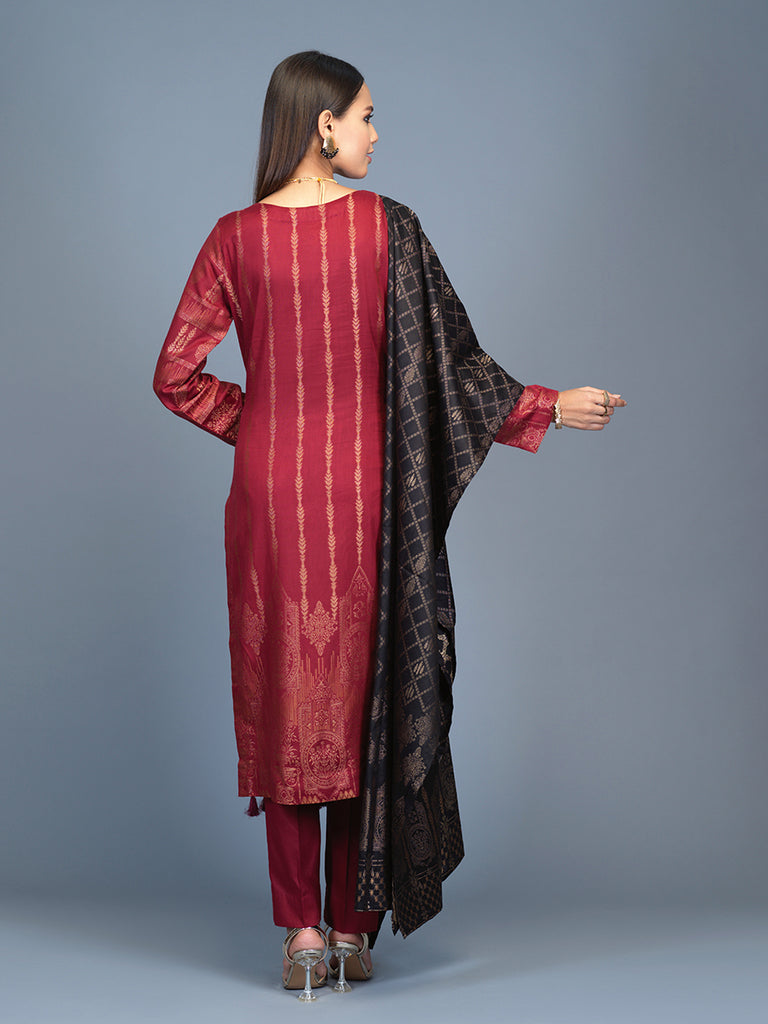 Unstitched 3pc Cambric Jacquard  Shirt with Cambric Jacquard  Dupatta - Jacquard classic (WK-00596)