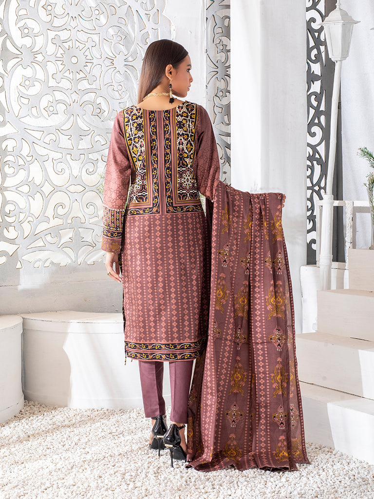3pc Printed Cambric Shirt with Printed Lawn Dupatta & Cambric Trouser - Inaya (IP-00042B)