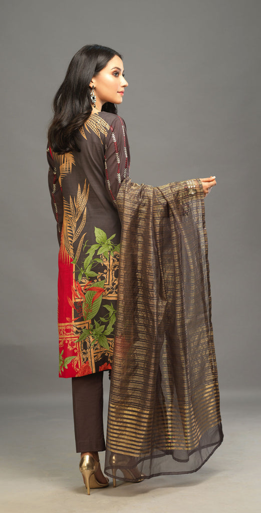 Unstitched 3pc Printed Embroidered Lawn Shirt with Organza Lines Dupatta - Shades (WK-00546B)