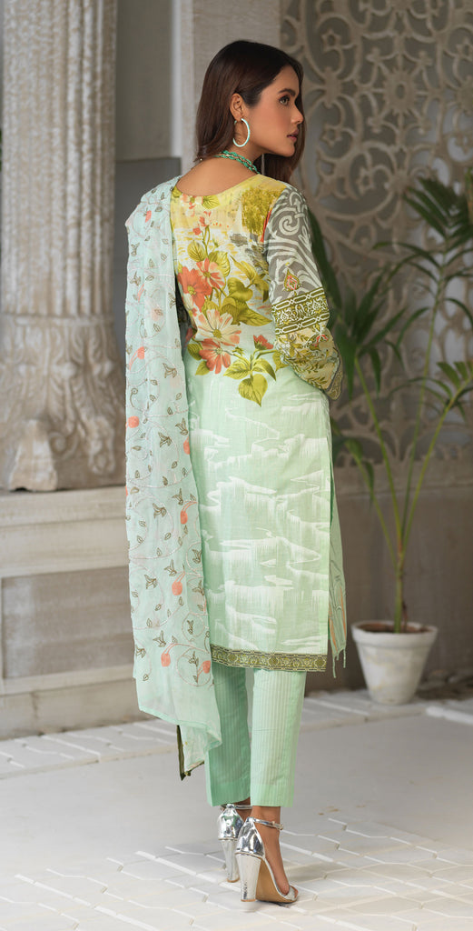 STITCHED 3pc Printed Embroidered Lawn Shirt with Printed Embroidered Chiffon  Dupatta - Fasutina (WK-00529A)