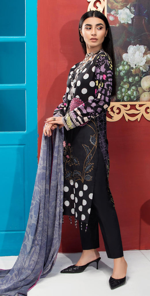 Unstitched 3pc Printed Embroidered Lawn Shirt with Printed  Chiffon  Dupatta - Zure  (WK-00526A)