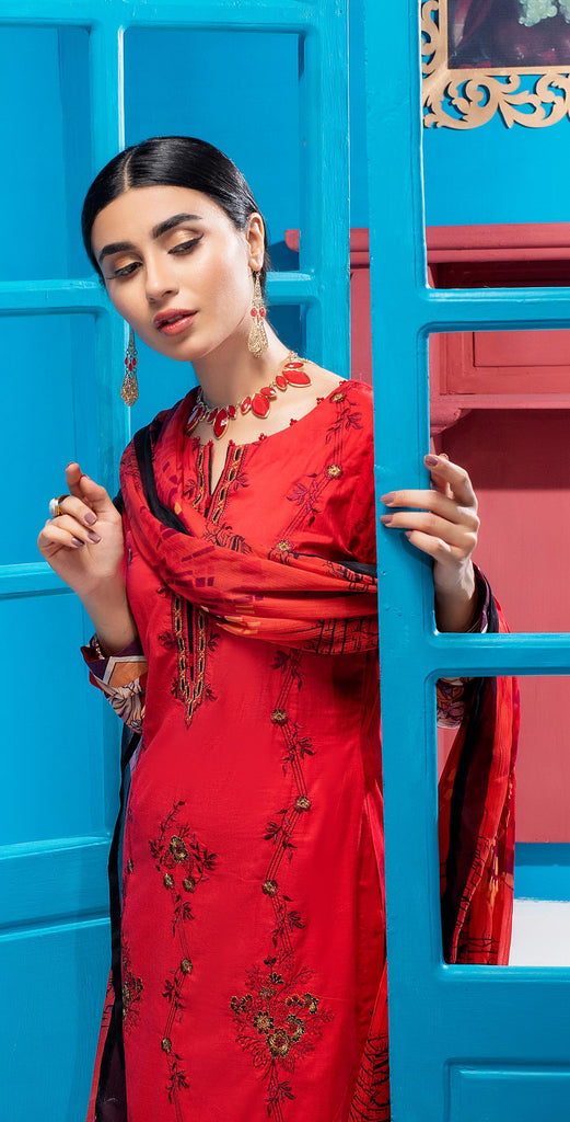 Stitched 3pc Printed Embroidered Lawn Shirt with Printed  Chiffon  Dupatta - Zure  (WK-00527A)